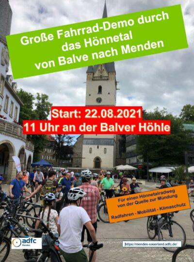 Plakat Fahrraddemo Hönnetal